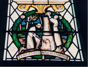 Stained glass window in the chapter house, Sheffield cathedral depicting the Kirkstead Abbey monks manufacturing iron at their grange on Thorpe Common