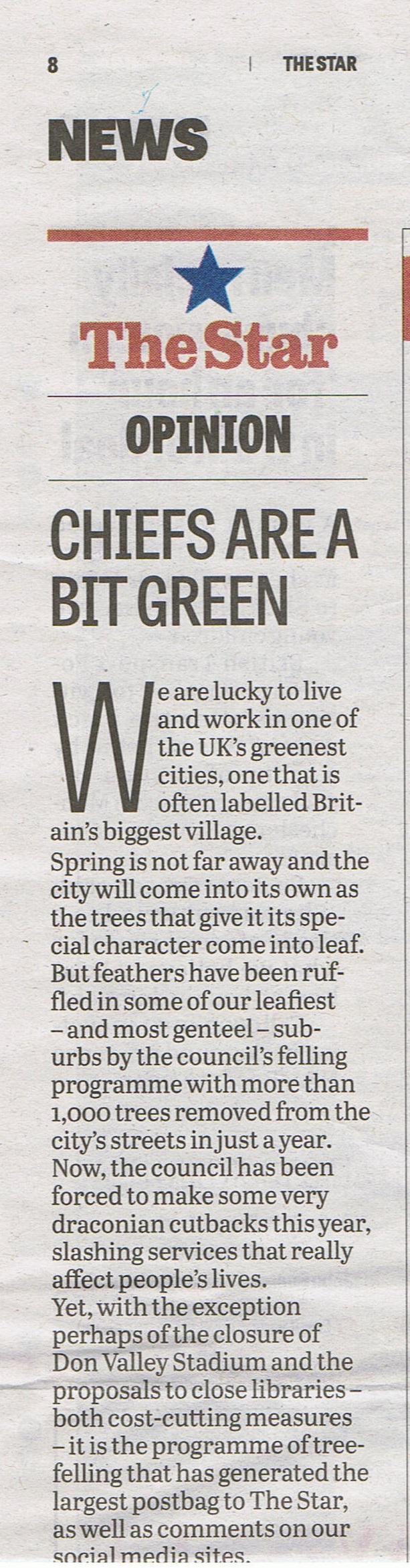 Sheffield Star Opinion January 18th 2014
