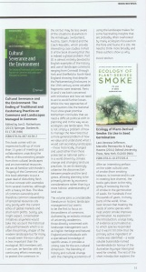 Review of Cultural Severance and the Environment in BES Bulletin August 2014