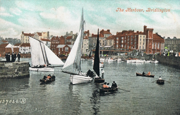 Sailing boats in Bridlington Harbour early 1900s