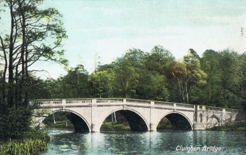A typical Brown landscape with the ornamental bridge on the Clumber Estate in Nottinghamshire